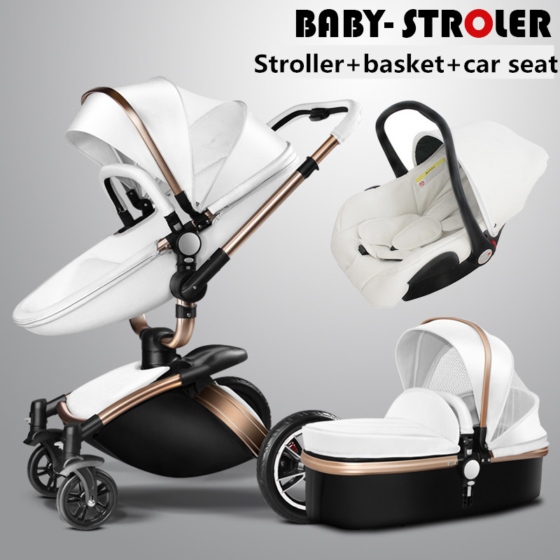 AULON Baby Strollers 3 In 1 Leather Pram Aulon Europe Car Seat ...