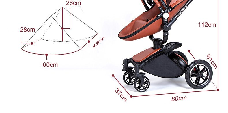 AULON Baby Strollers 3 In 1 Leather Pram Aulon Europe Car