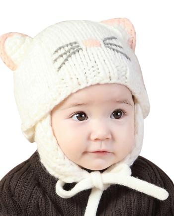 75e82c141a13da Knitted Baby Girls Hat Cute Cat Ears Beanie Ear Protection Hat For Girls  Handmade ...