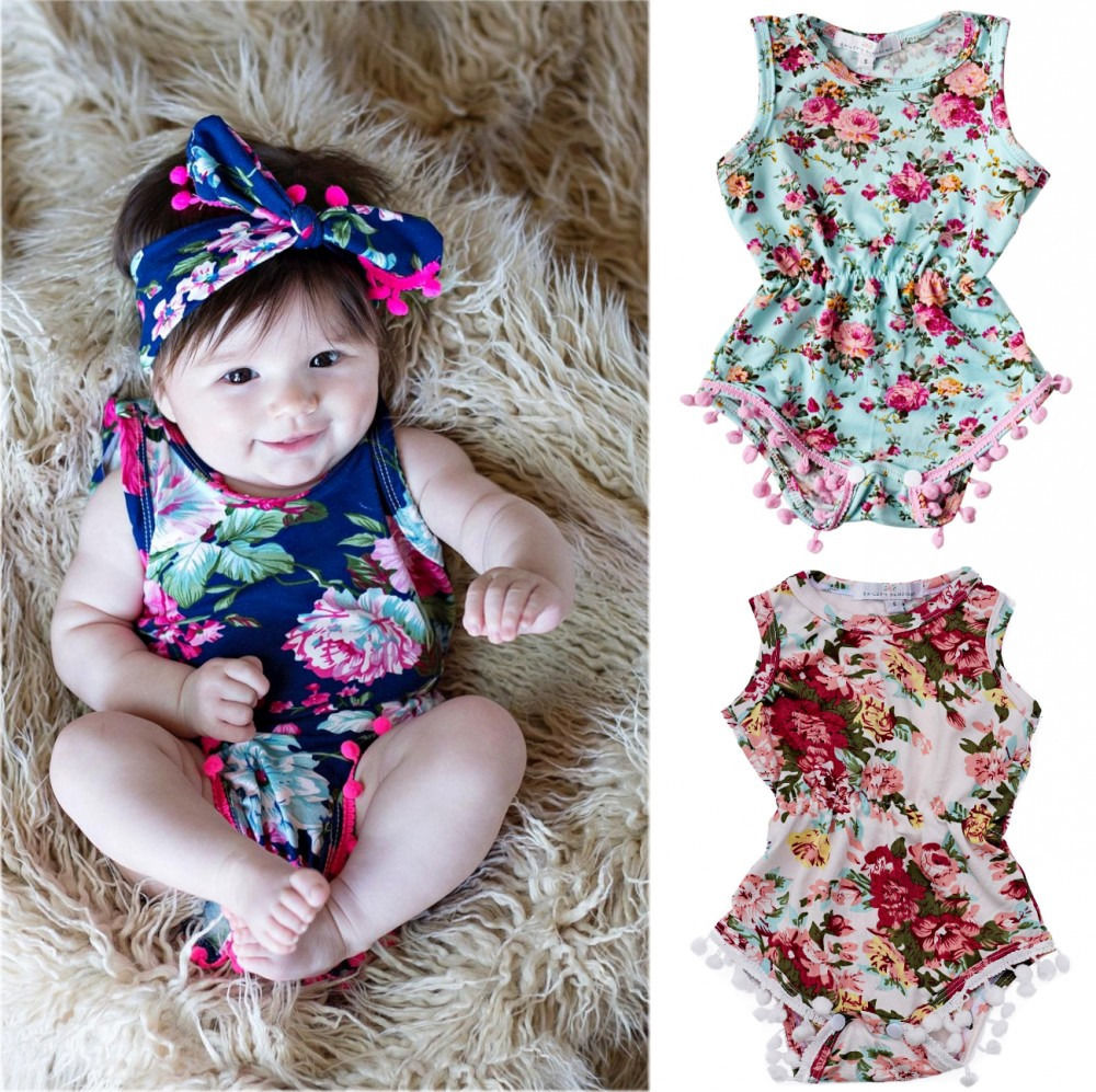 b1a4f6c4f8cc nourstore.com New Baby Girl Romper Summer Newborn Infant Baby Girls Floral  Pom Pom 2